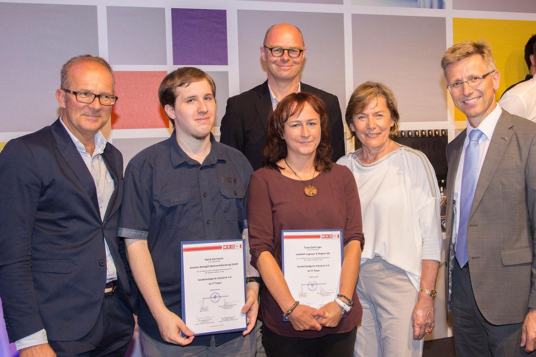 Lehrlingswettbewerb Industrie 4.0, 2017, Tanja Gattringer, WKNO Präsidentin Sonja Zwazl usw., Foto waldsoft