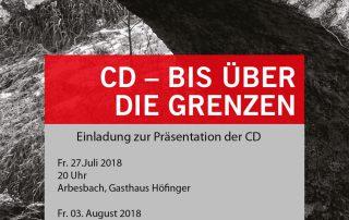 CD Volksmusik & Dialekt, Einladung CD Präsentation Mischa Niemann, Viertelfestival 2018